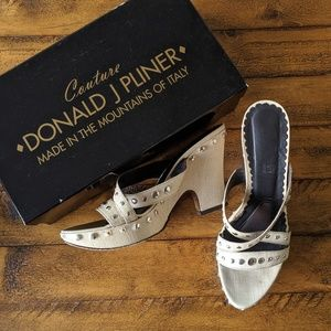 Donald J. Pliner Buffy Canvas Studded Sand Heels